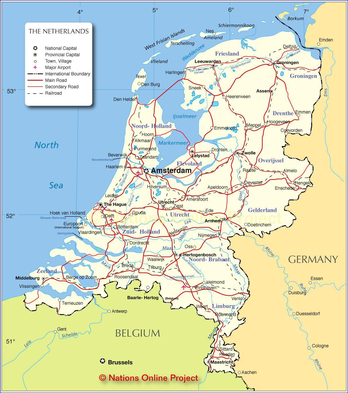 Karte Von Holland Landkarte Niederlande.Holland Landkarte Karte Von Holland Niederlande Westeuropa Europa