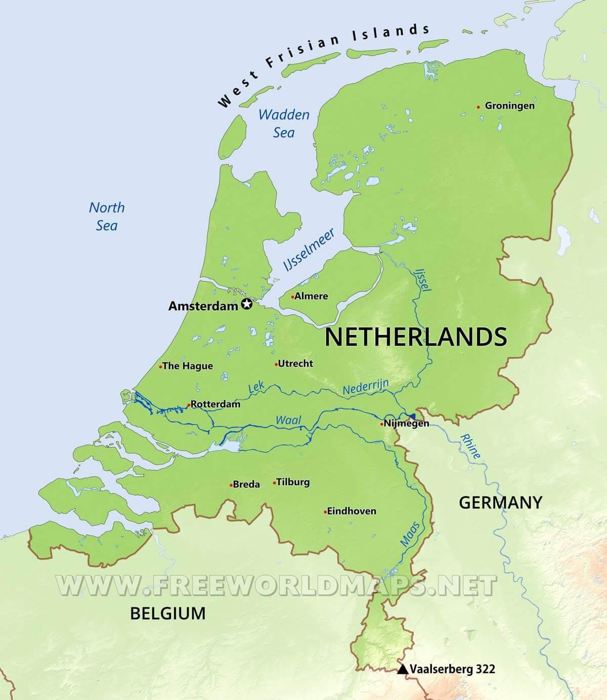 Niederlande Ijsselmeer Karte.Niederlande Geographie Landkarte Holland Geografischen Karte