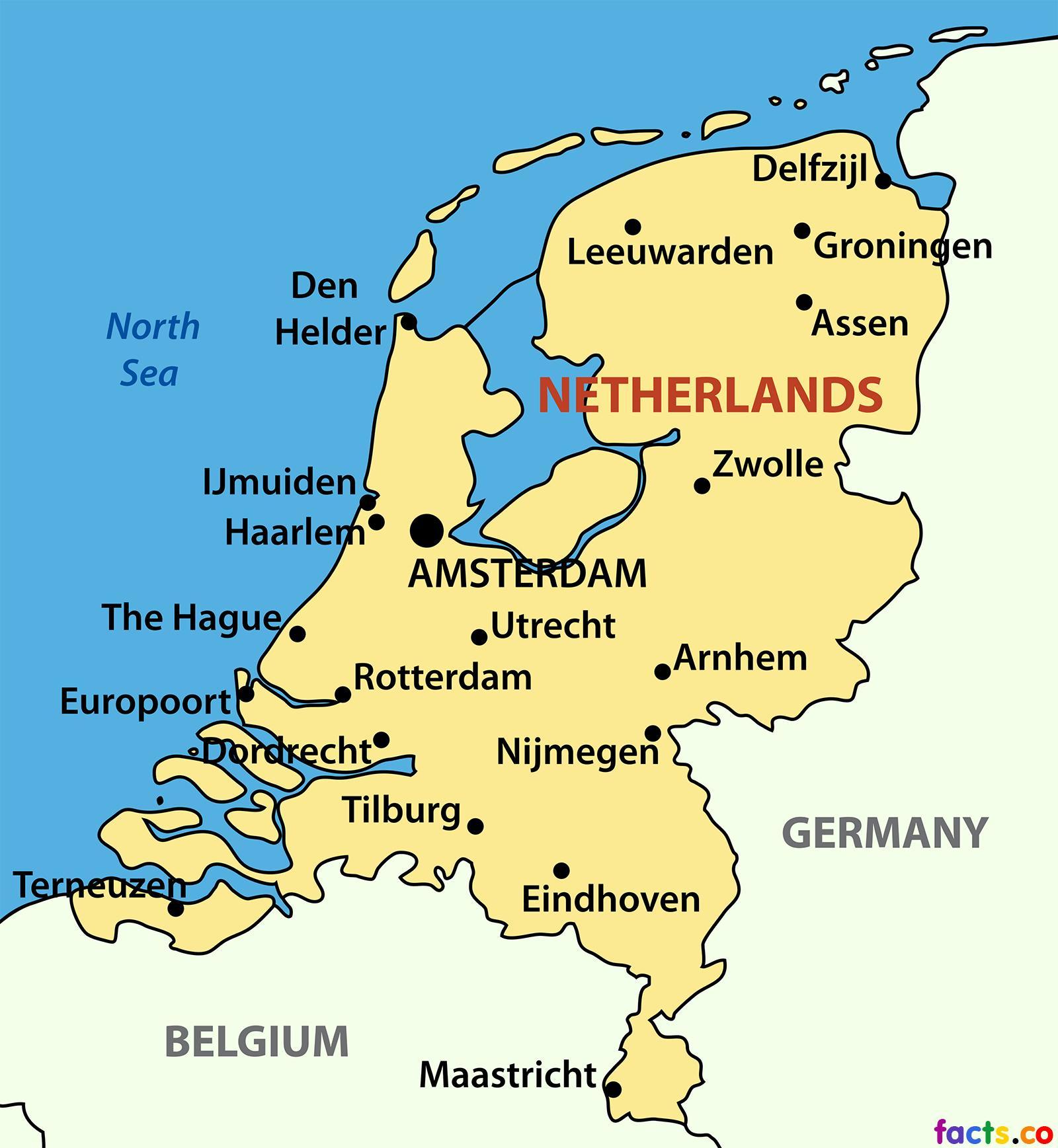 Niederlande Stadtplan Karte Von Niederlande Stadte West Europa Europa