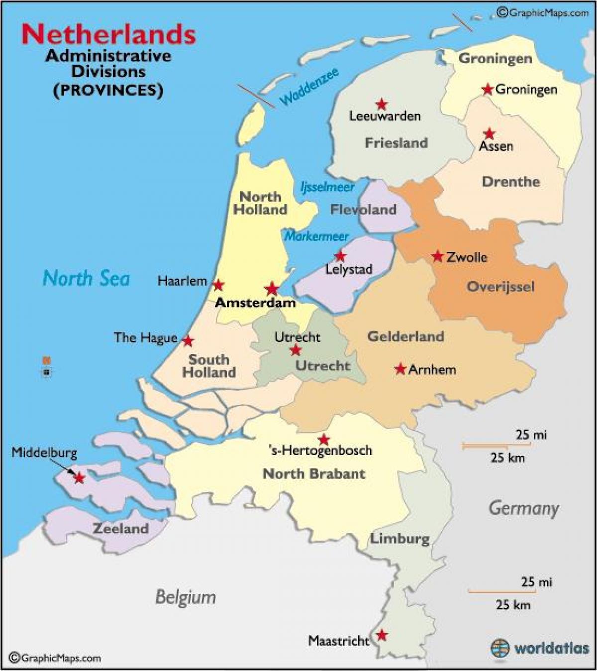 holland karte regionen Holland Regionen Landkarte   Karte von Holland Regionen