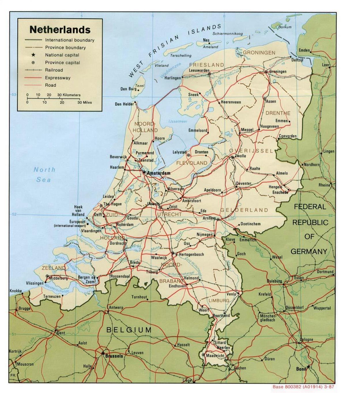 Niederlande Stadte Map Karte Von Holland Mit Den Stadten Und Gemeinden Western Europe Europe