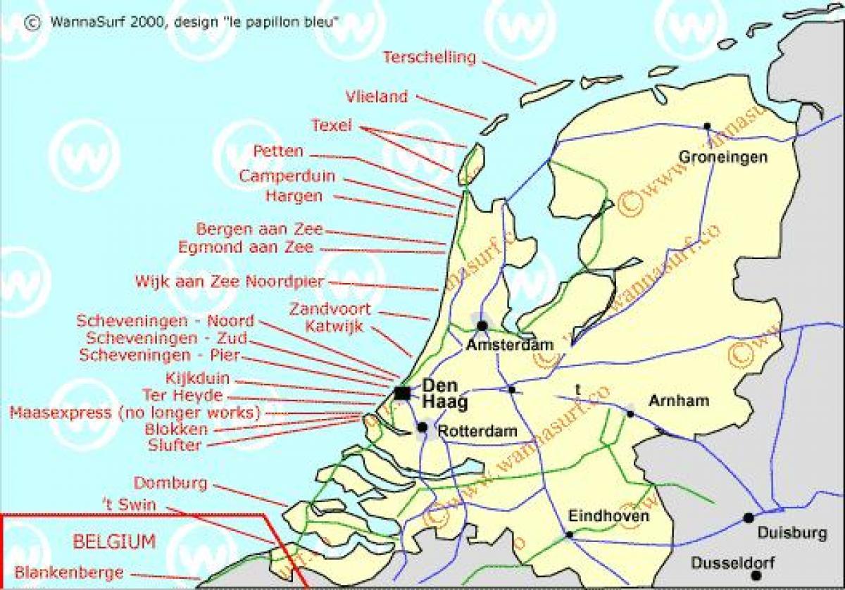 strände in holland karte Niederlande beach Karte   Holland beach Karte (Western Europe