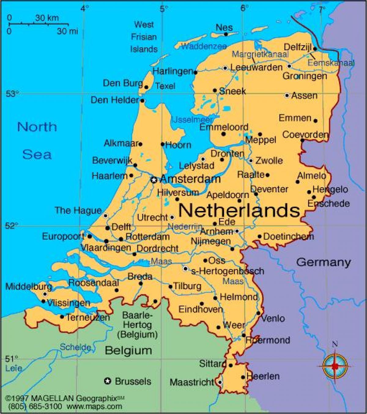 Karte Von Europa Mit Städten.Niederlande Städte Map Karte Von Niederlande Mit Den Städten West