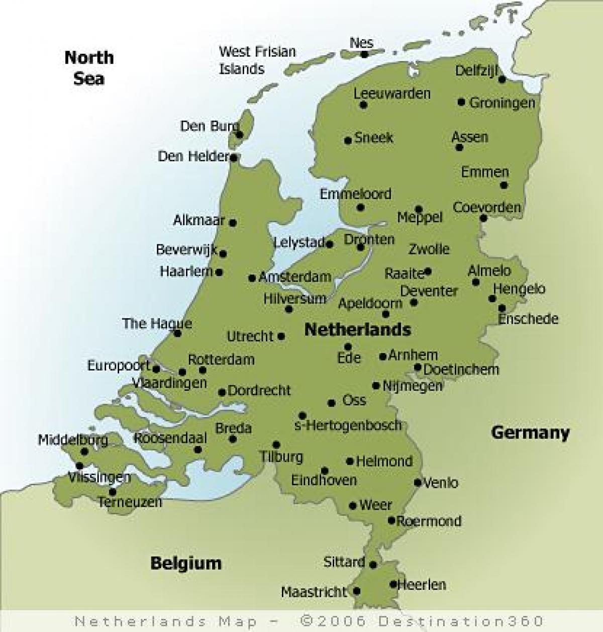Karte Von Holland Landkarte Niederlande.Städte In Holland Landkarte Karte Von Holland Städte West Europa